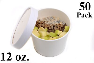 50 12 Oz. White Paper Round Food Soup Containers With Vented Lids Recyclable
