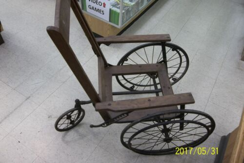Vintage 3 Wheeled Gendron Wood & Cane Wheelchair reclining