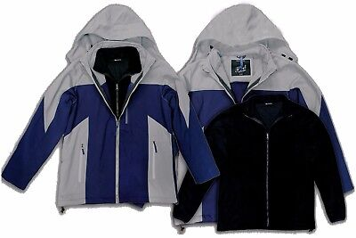 Men's Soft Shell 3-In-1 Jacket with Removable Inner Fleece and Detachable Hood  - Inner Soft Shell