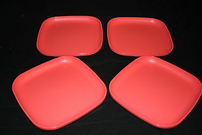 "Tupperware 4 Luncheon Square Plates 8"" New Guava Color"