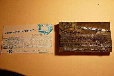 1960s Printing Letterpress Printer Block Decorative Print Cut History Of Liberty