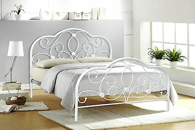 Alexis Small Double 4ft&Double 4ft6 white metal bed frame with wooden slats base