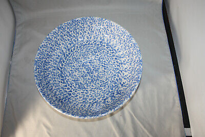 Roseville Workshops of Gerald E. Henn Blue Spongeware, 11 inch Bowl