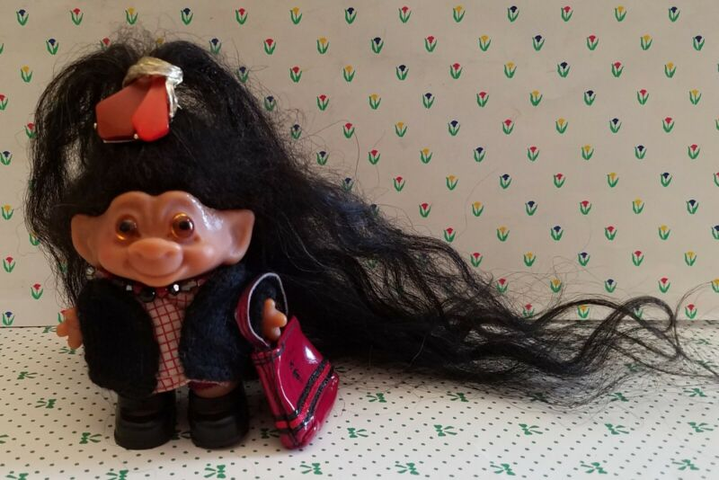 "1960s Vintage Dam  2 3/4"" Troll Doll New 9"" Hair Orig Eyes W/ Outfit"