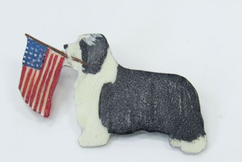 Patriotic Bearded Collie Dog American Flag in Mouth Plastic Handmade Brooch Pin