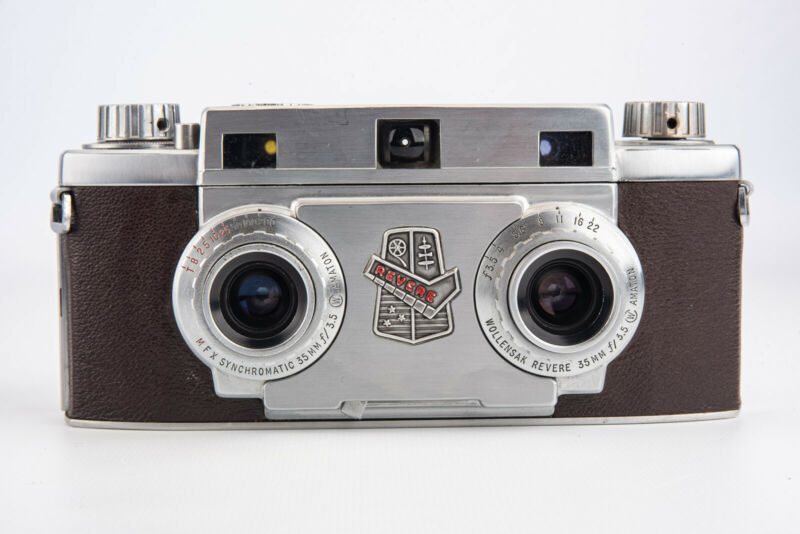 Revere Stereo 33 35mm Film Camera w Wollensak Amaton 35mm Lens WORKING V11