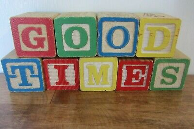 Vintage ABC Alphabet Blocks- Good Times  Summer Home Decor