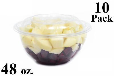 - 10 48 oz. Clear Plastic Salad Bowls with Airtight Lids BPA Free Food Containers