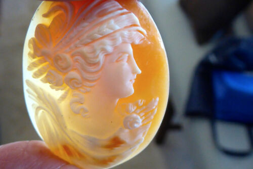 """VICTORIAN HAND CARVED FROM CONCH SHELL LOOSE CAMEO ITALIAN CAMEO 1 5/8"""" X 1 1/4"""""""