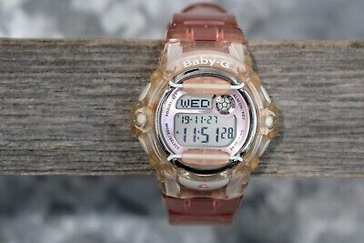 Casio Baby-G BG-169R Iced Pink and Clear Digital Watch,New Battery, Clean