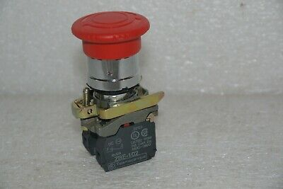 Telemecanique Red Emo Emergency Off Pushbutton Switch With Two Zbe-102 Contact