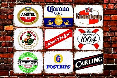 Metal wall signs plaques vintage retro style Beer larger bar pub man cave decor
