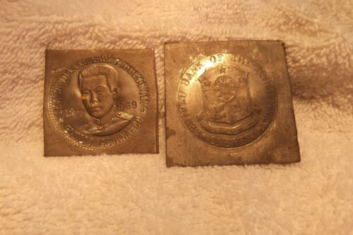 1969 PHILIPPINES AGUINALDO (2 PIECE) PESO DIE TRIAL ON THICK KLIPPE SQUARES LEAD