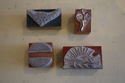 4  Vintage Printing Letterpress Printers Block Cut Flowers Sunshine Waves