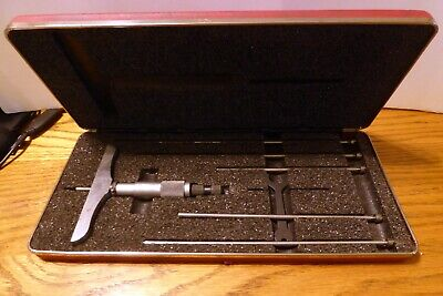 Vintage Starrett No. 445 Depth Gage Micrometer 0 6- With Case Wrench Nice