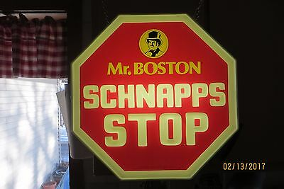 ORIGINAL MR.BOSTON SCHNAPP'S STOP SIGN LIGHTED POINT OF SALE VTG WORKING SIGN