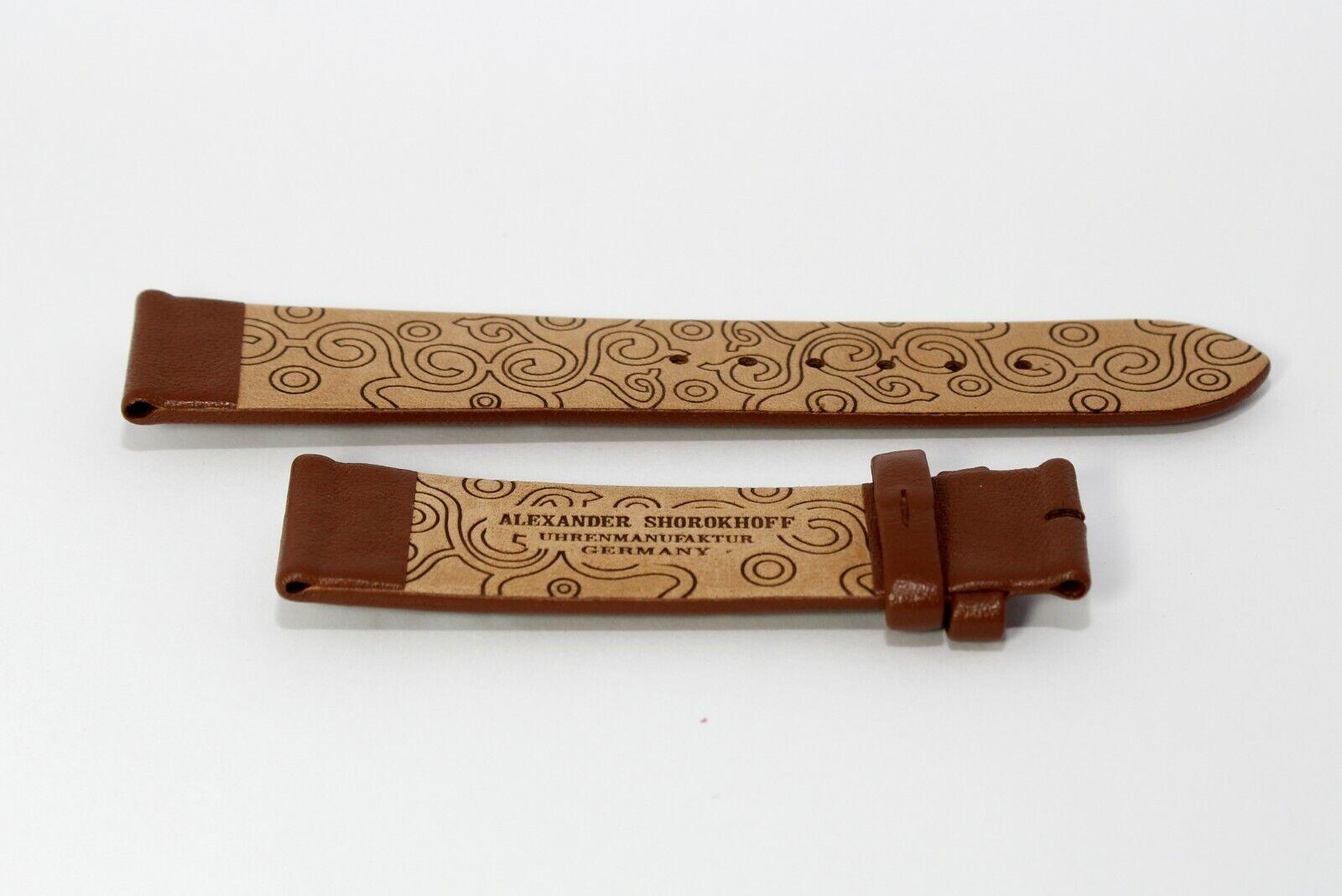 Damen Uhrenband Lederarmband 20 mm Braun mit Stickerei Kalbsleder SHOROKHOFF