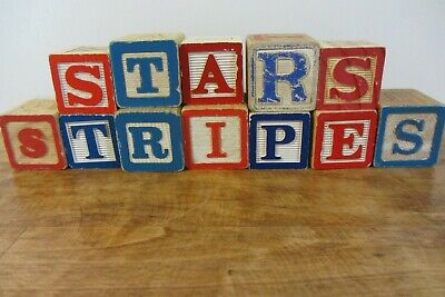 Vintage ABC Alphabet Blocks- Stars Stripes  Memorial 4th of July Home Decor