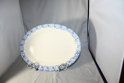Roseville Workshops of Gerald E. Henn Blue Spongeware, 13 inch Oval Platter, New