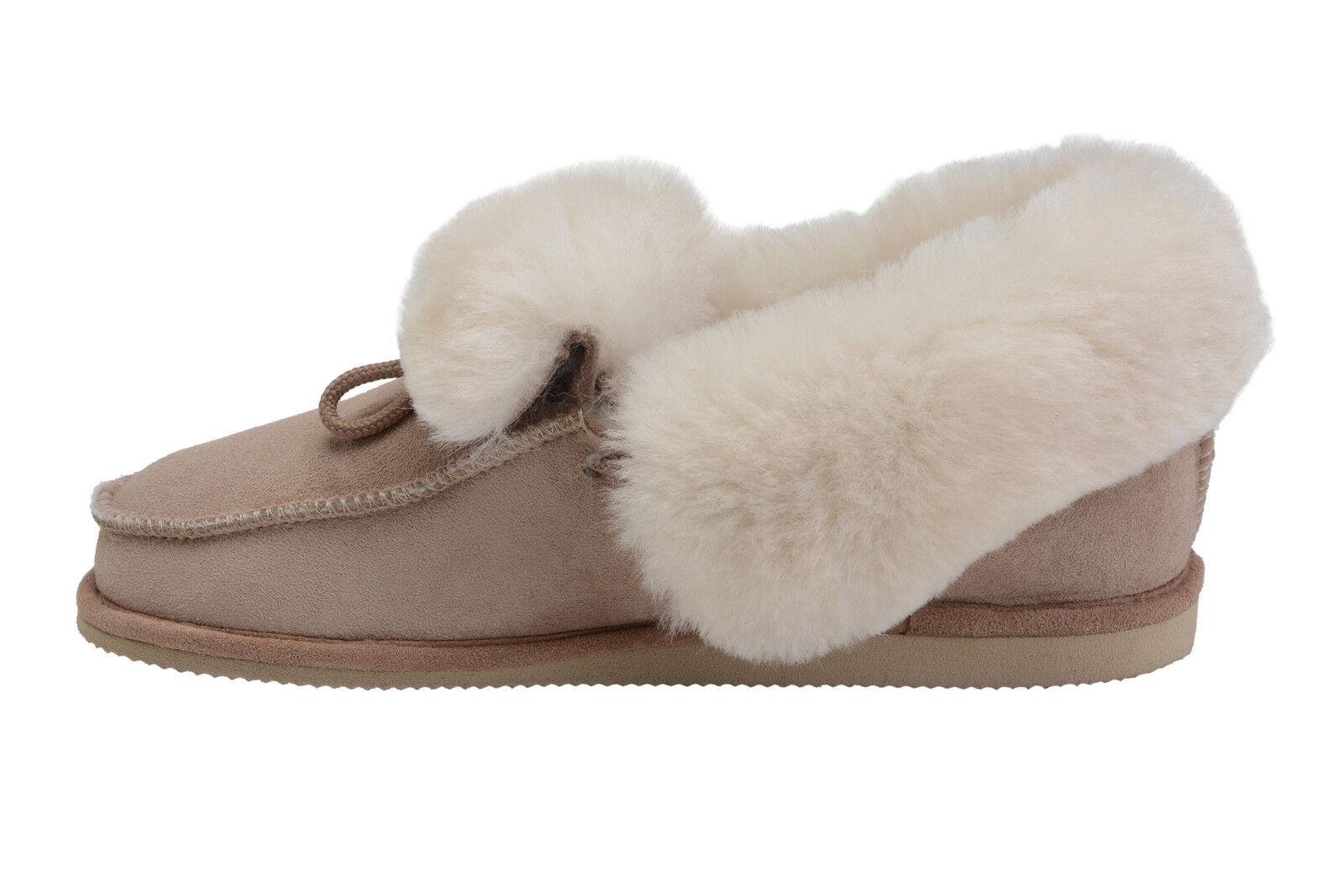 edefc8790 Mens Womens House Sheepskin Moccasin Slippers 100% Wool Lining Shoes UK Sz  3-10