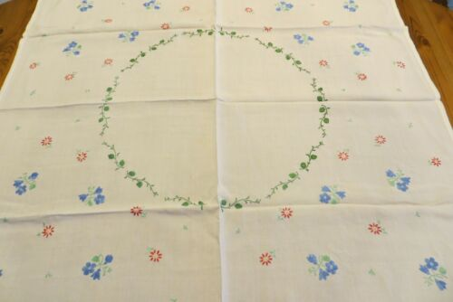 VINTAGE HAND EMBROIDERED WHITE LINEN TABLECLOTH 39 X 39 INCHES