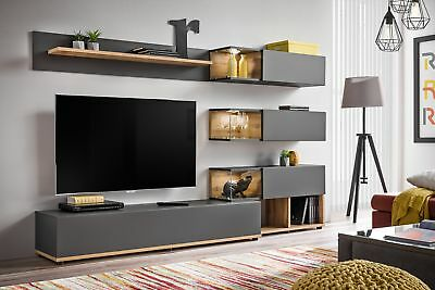 Simi - Anthracite modern entertainment center / living room wall unit, used for sale  Shipping to Canada