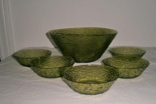 Vintage Anchor Hocking Soreno Avocado Green Large Salad Bowl & 5 Small Bowls