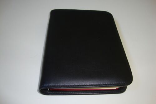 HUGO BOSCA GENUINE NAPA VITELLO LEATHER ADDRESS BOOK WITH TABS AND REFILLS