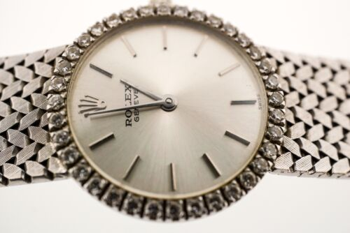 $2199.00 - Vintage Rolex Ladies White Gold Diamond cellini