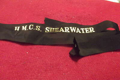 Post WW II Canadian Navy Cap Tally To The H.M.C.S. Shearwater