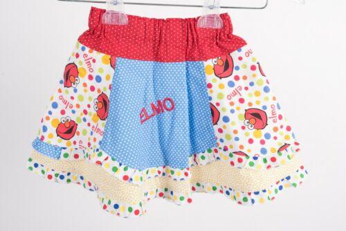 Bellabebeco Girls Elmo Sesame Street Custom Skirt 3T Red Blue White Boutique