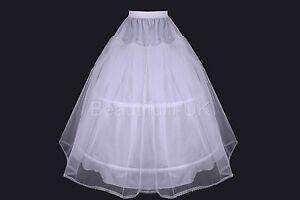 Age-4-12-Flower-Girl-2-Hoop-A-Line-Crinoline-Petticoat-Underskirt-Children-Kid