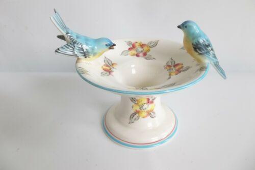 Vintage Lefton Blue Bird Bath Figurine Planter Japan #117 Candle Holder