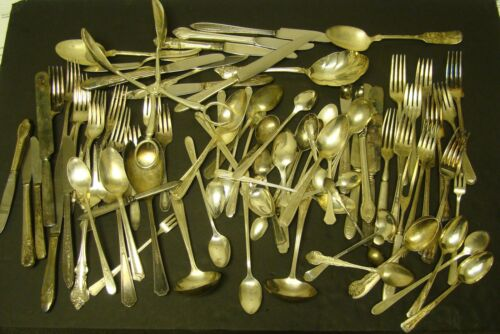 SILVERPLATE SILVERWARE LOT 90 Pieces Fork Spoon Knife CRAFT Wedding 8+ Pounds