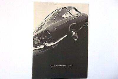1968 Fiat 850 Fastback Coupe Car Vintage Original Print Ad Automobile
