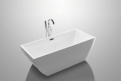 Tarnby Rectangular White Bath Tub Acrylic Freestanding Soaking Bathtub -