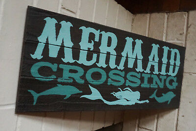 MERMAID CROSSING SIGN Tropical Coastal Beach Faux Wood Plank Home Decor NEW