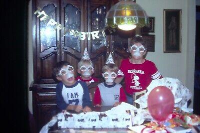Kids At Halloween ( 1980's Kids At Birthday Party Wearing Halloween Mask 35mm Film Slides)