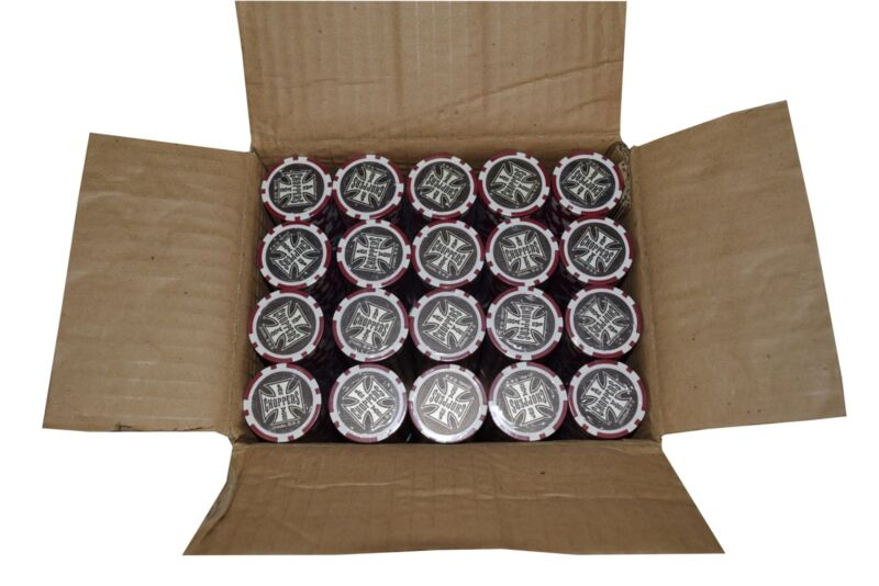 1000 Poker Red Chips Las Vegas Choppers Clay Composite 11.5 gr GREAT DEAL *