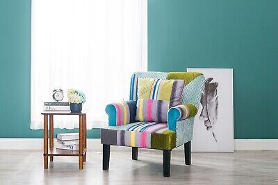 WestWood Fabric Patchwork Armchair Multi Colour Retro Vintage Chair Seat PC04
