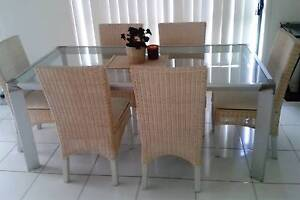 6 seater, glass-topped glass dining table/suite. Domayne setting. Rothwell Redcliffe Area Preview