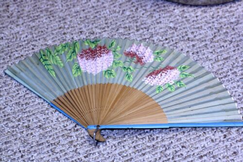 "Vtg silk bamboo floral PAINTED HAND FAN OCCUPIED JAPAN 9 3/4"" x 17"" TLC needed"