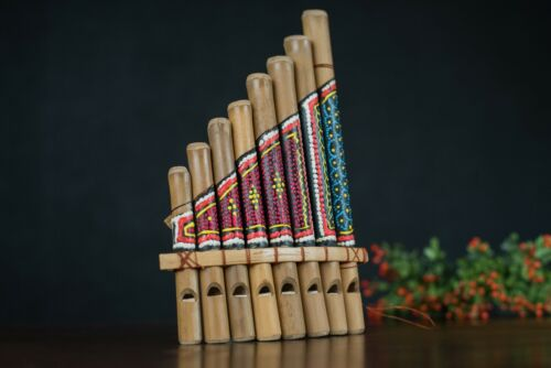 Pan Flute 8pipes Painted bamboo percussion Musical Wood Wind instrument Tropical