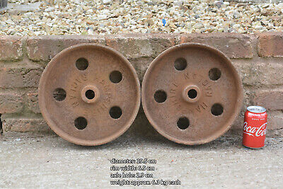 pair of iron wheels shepherd / chicken hut antique old trolley wheel 29.5 cm