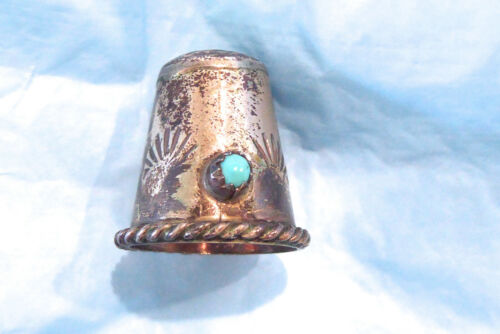 OLD EARLY STERLING HAND MADE NATIVE AMERICAN NAVAJO STERLING TURQUOISE THIMBLE