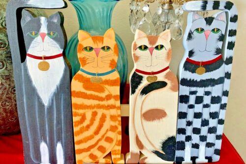 Home Wooden Decorative Four Cats Plaque|Cat Lovers|Vintage