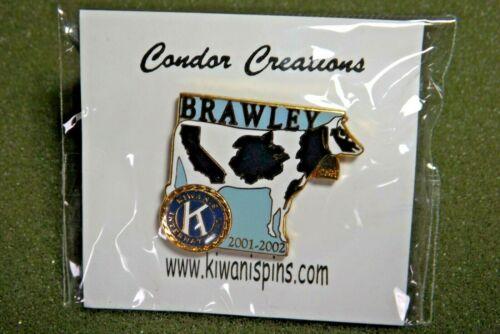 2001 2002 Kiwanis International Brawley California Lapel Pin Cow & Bell CNH