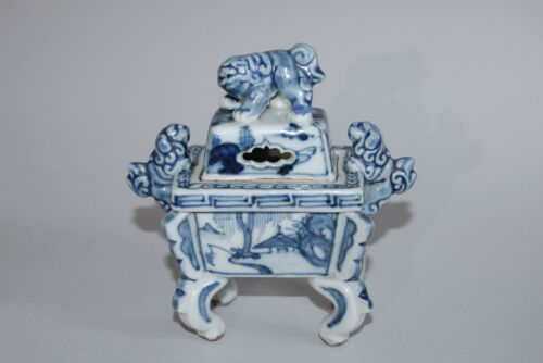 Porcelain incense burner, shishi lions and landscape, Takahashi Dohachi, Japan
