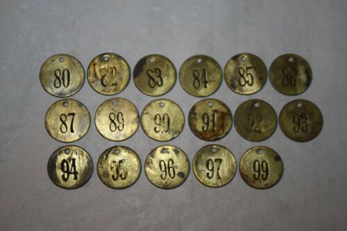 Vintage / Antique Brass Cattle Tag Lot of 17 #5