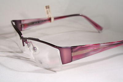 Japanese ART FOR EYE Women's Titanium Semi Rimless Glossy Purple Eyeglass Frames
